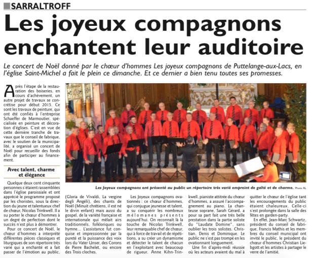 Concert de Noël à Sarraltroff, 21/12/2014